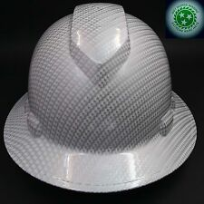 Full Brim Hard Hat Custom Hydro Dipped New White Carbon Fiber Hot New Hydro