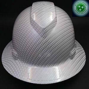 FULL-BRIM-Hard-Hat-custom-hydro-dipped-NEW-WHITE-CARBON-FIBER-HOT-NEW-HYDRO
