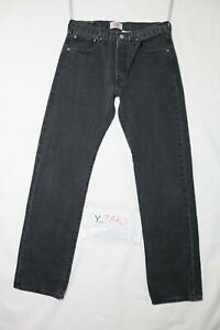 Levi-039-s-501-BOYFRIEND-usato-Cod-Y2190-W33-L34-denim-jeans-dritto-nero