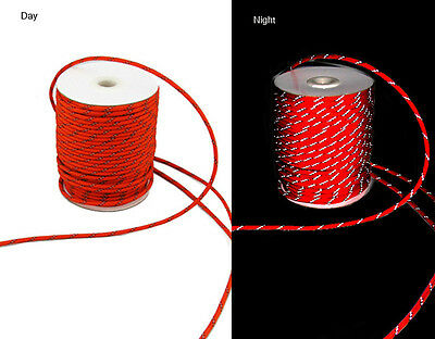 20m Fluorescent Reflective Guyline Tent Rope Guy Line Camping Cord Paracord