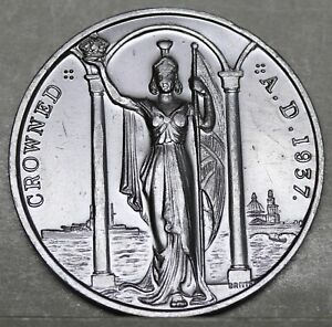 George-VI-amp-Queen-Elizabeth-Bronze-Coronation-Medal-1937-44mm-In-Box-of-Issue