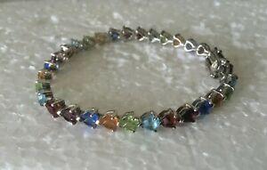 Solid-Sterling-Silver-Multi-Color-Lenox-TENNIS-BRACELET-7-5-034-925-Rainbow-Stack
