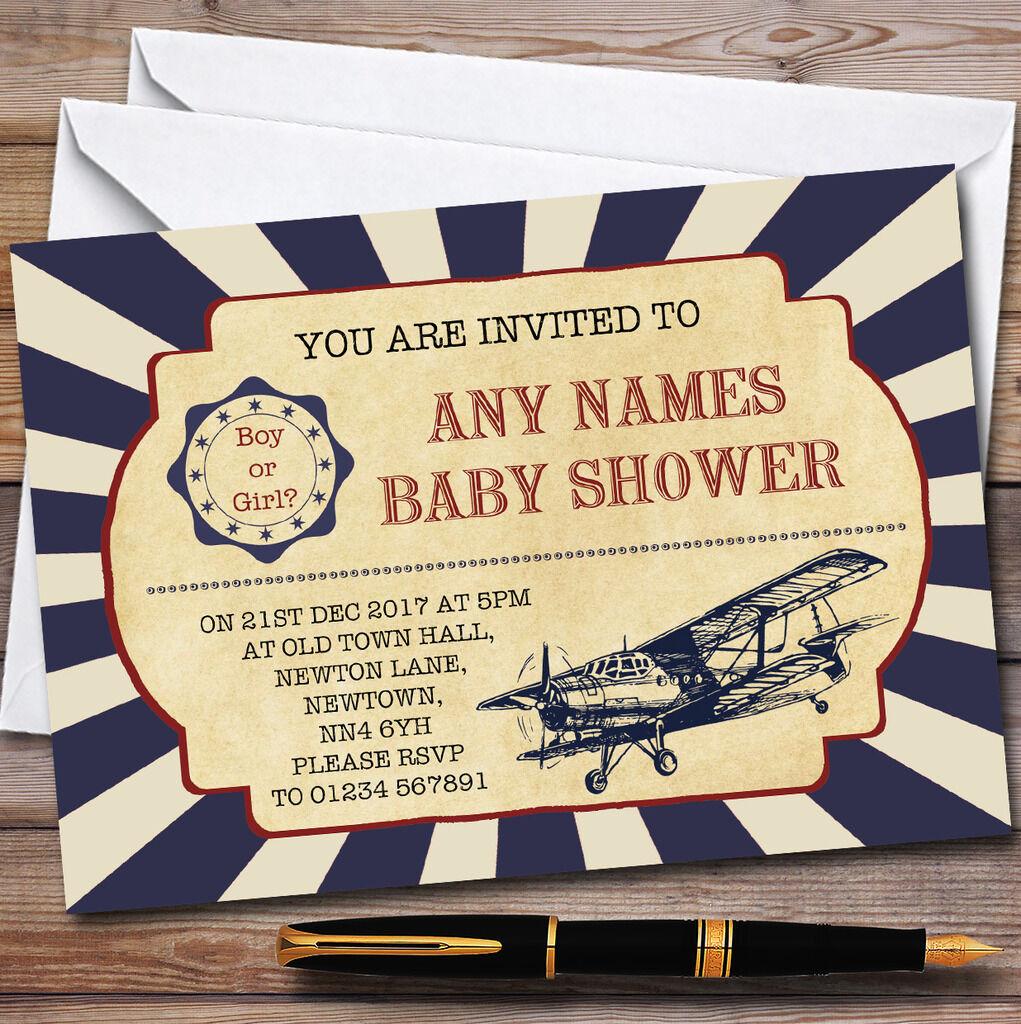 Vintage Vintage Vintage Air Force avion invitation Baby Shower Invitations 8c4ff5
