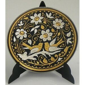 Damascene-Gold-amp-Silver-Dove-of-Peace-Round-Decorative-Miniature-Plate-by-Midas