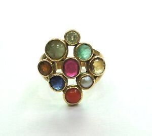 Vintage Antique Solid Handmade 20k Gold jewelry Navratan Gemstones