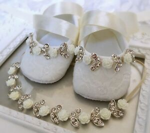 Image is loading Baby-Girl-Ivory-Christening-Shoes-Baptism-Headband-Set- 500c5396ee87