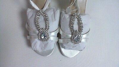 Zapatos De Noche/Boda retoques-Blanco-Mindy-US 7 W UK 5 #7L462