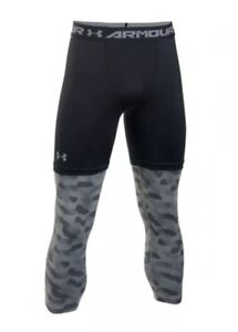 f7c0b58aa7 Details about $50 Under Armour SC30 Curry Men's 2XL Black/Grey Compression  Tights 1285007 NWT