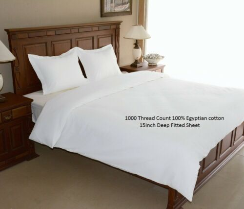 SHEET SET//DUVET SET//FITTED//FLAT 1000TC 100/% EGYPTIAN COTTON WHITE SOLID US-QUEEN