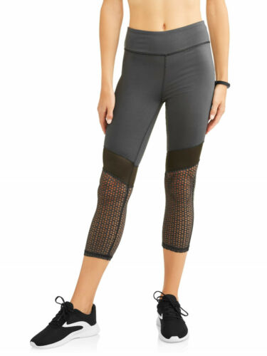 NEW Womens Daisy Fuentes Core Gray Laser Cut Performance Capri Leggings Medium