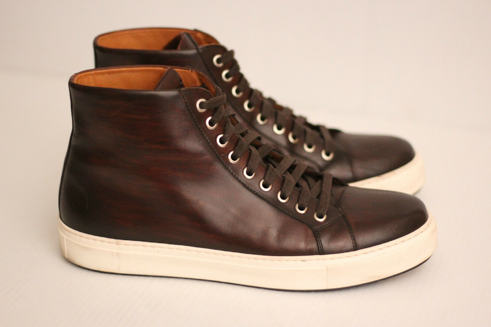 Uomo Magnanni Brando High Top  Pelle Lace Up Mid Brown - Size 9M (X30)