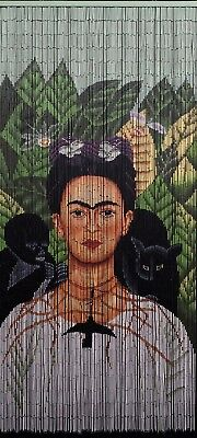 Bamboo Beaded Curtain Hand Painted-Frida with the necklace of thorn