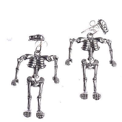 Gothic Punk Limbs Moving Skeleton Skull Villain Dangle Earrings Halloween Gift