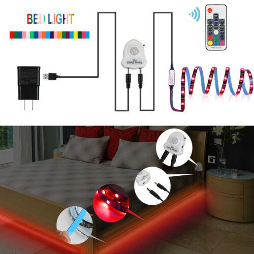 LED Bettlicht rgb Bewegungsmelder Bett Lichtleiste Nachtlicht Streifen dimmbar