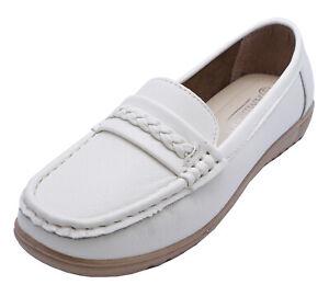 LADIES WHITE AMBLERS SLIP-ON FLAT