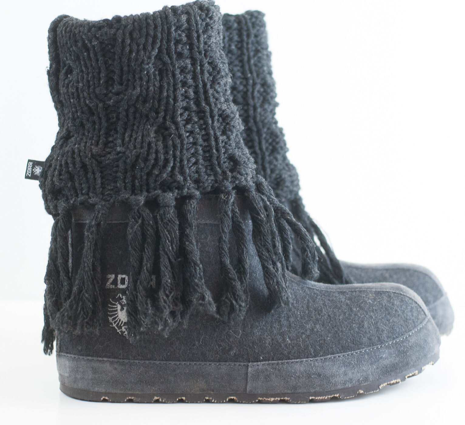 ZDAR Masha High Knit Lambswool Wool Hemp Winter Snow Boots Sz 41/US 11 Handmade