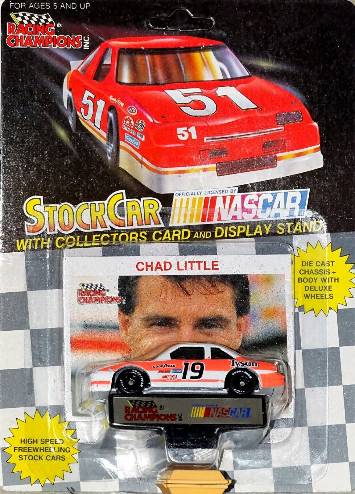 Nascar Chad Little Tyson Foods w Card & Display 1 64th by Racing Champions