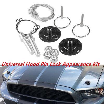 Optional Black Black Silver Qiilu 2 Pcs Hook Pins with Accessories CNC Aluminum Alloy Car Racing Hood Pin Lock Appearance Kit Universal Red Blue