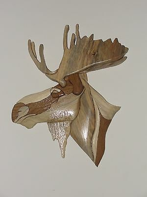 Moose Intarsia Wood Art - Wood Decor Wall Hanging - NEW