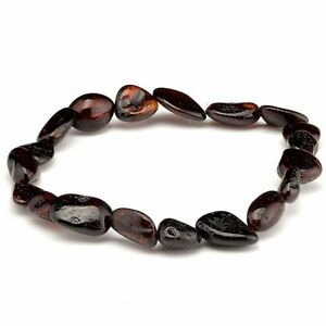 Genuine Baltic Amber Oval Bean Shape Stretch Bracelet Cherry 18cm