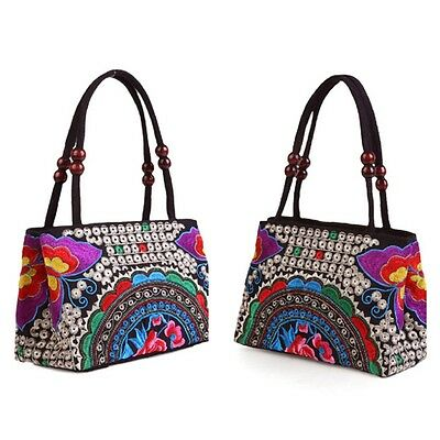 New Women Casual Purse Ethnic Handbag Embroidery Satchel Canvas Tote Hobo Bag