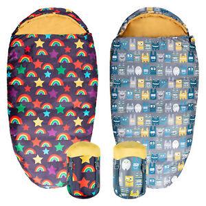 Silentnight Sleeping Bag Camping Kids Childrens Rainbow Monster Pattern Fun Warm