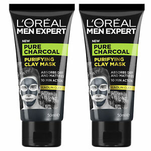 NEW L'Oreal Paris Men Expert Pure Charcoal Purifying Kaolin Clay Mask 50ml x 2