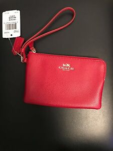 NWT Authentic Coach Signature Red Zip Small Wristlet Change Purse NEW