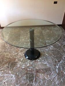 Tavolo Cristallo Con Base Marmo.Dettagli Su Tavolo Tondo Cristallo Con Base Marmo