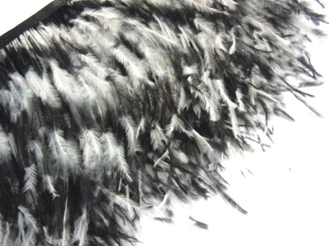 F130 PER FEET-Black White Zebra Ostrich feather fascinator Trim Brooch Material