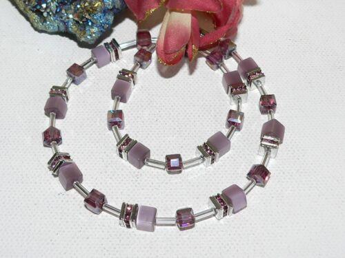 Halskette Kette Collier Cube Cat Eye pastell violett Kristall Glas Strass 507b