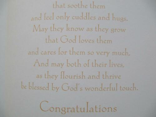 WONDERFUL COLOURFUL ON THE CHRISTENING OF YOUR TWINS GREETING CARD