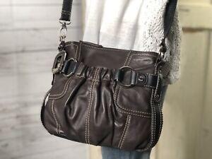TIGNANELLO-Brown-Pebbled-Leather-Shoulder-Bucket-Bag-Handbag-Hobo-Purse-EUC