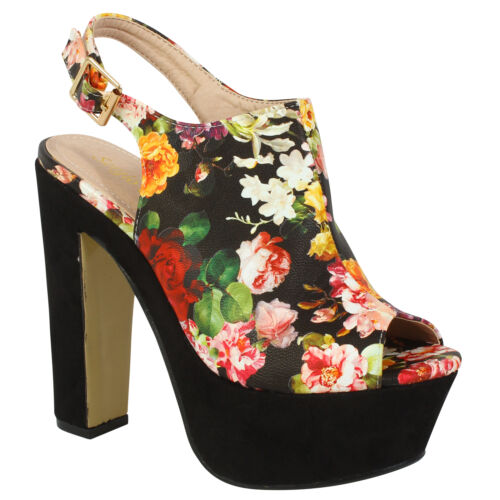 Ladies Women/'s Chunky Block High Heel Platform Ankle Strap Sandals Girls Shoes