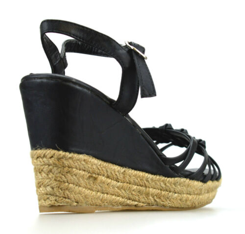 Ladies Womens Mid Wedge Heel Espadrille Ankle Strap Summer Sandals Shoes Size