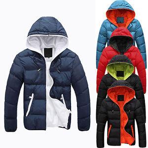 Uomo Slim Casual caldo giacca inverno cappuccio spesso Parka Cappotto Felpa con