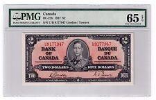 Canada $2 Dollars Banknote 1937 BC-22b PMG GEM UNC 65 EPQ