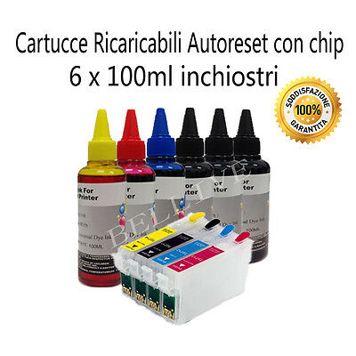 KIT 4 CARTUCCE RICARICABILI PER Epson T0711 Stylus Office BX300F BX600FW BX310FN