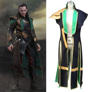 Thor-2-Loki-Laufeyson-Coat-Trench-Top-Cloak-Cosplay-Costume-Custom-Made