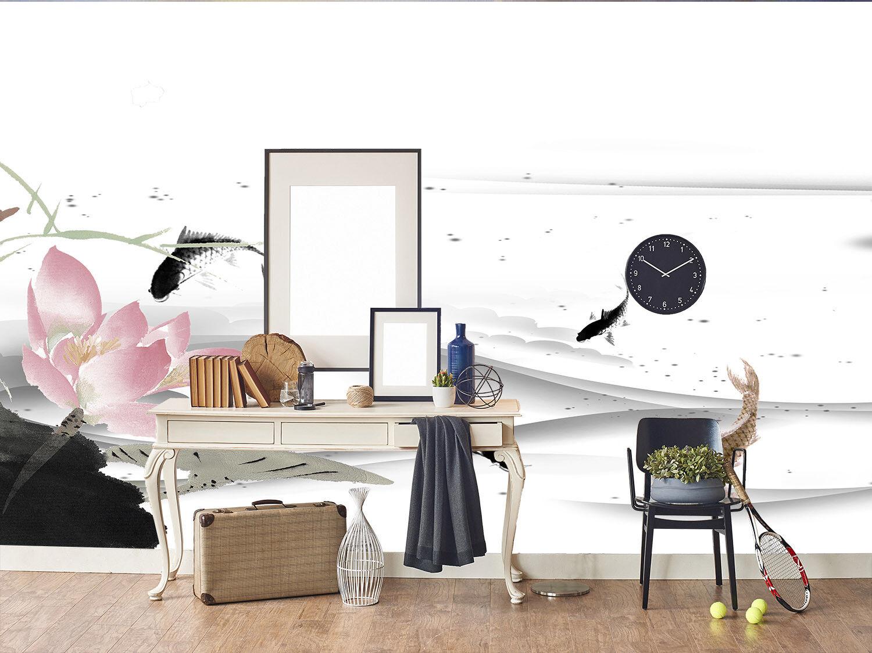 3D Klassisch Lotus Fisch 85 Tapete Wandgemälde Tapete Tapeten Bild Familie DE
