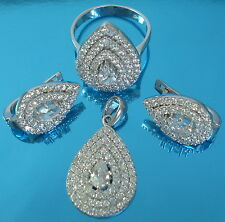 Solid 925 Sterling Silver Pear Cut Cz Set Earrings Pendant Ring Size P Jewellery