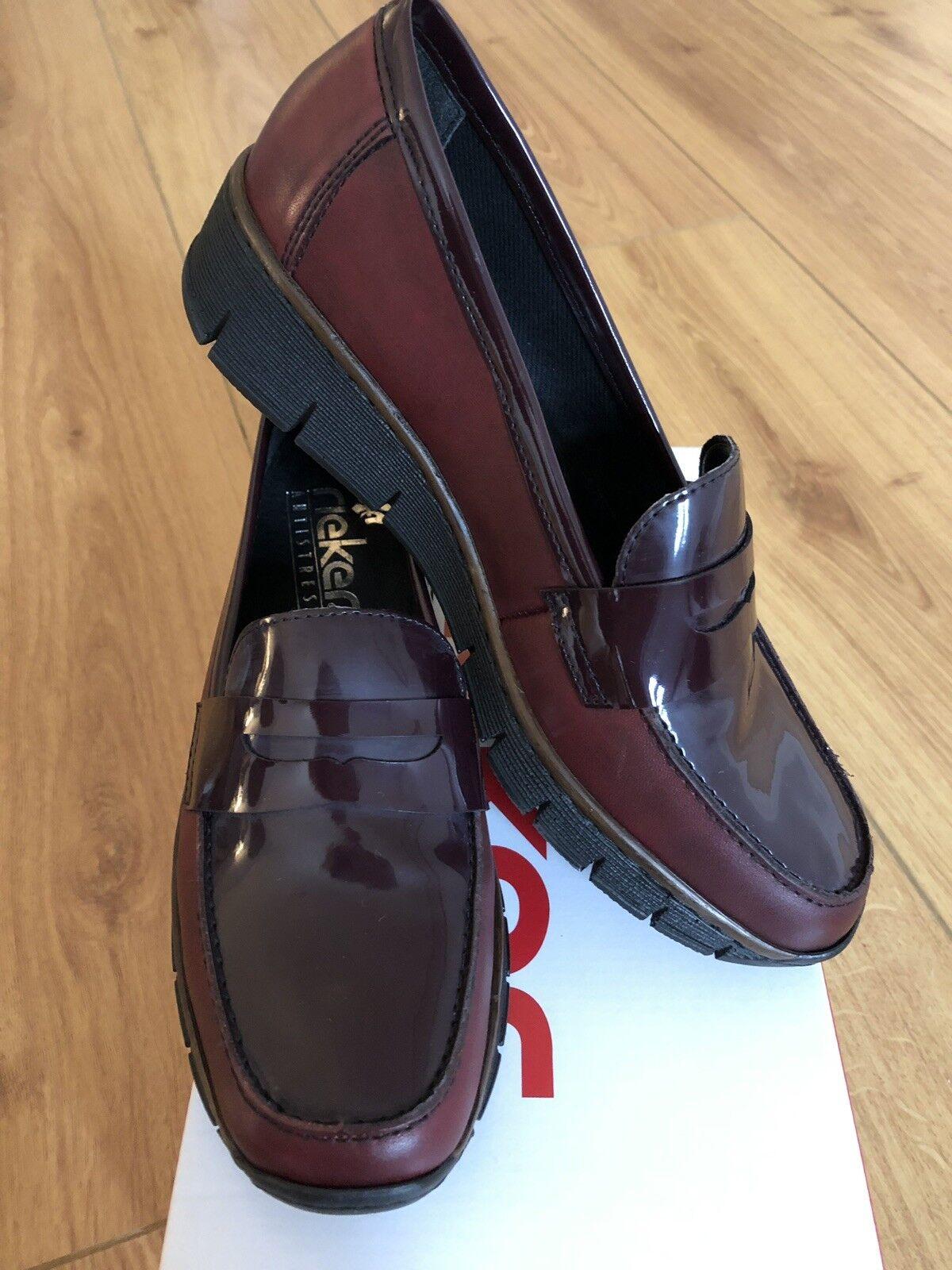 Brand New reiker comme Femmes Mocassin chaussure en Bourgogne en cuir rouge taille UK 4 37