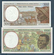 Central African States 500, 1000 Francs Set, 1997 / 2000, Cameroun, UNC