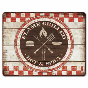 Tempered-Glass-Cutting-Board-8x10-BACKYARD-BARBEQUE-Flame-Grilled-Hot-amp-Spicy