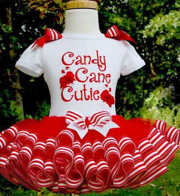 CANDY CANE TUTU COSTUME Kids Ladies Christmas Party Fancy Skirt Dress Xmas Lot