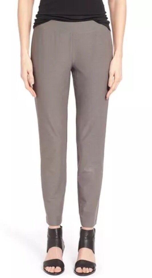 XS Eileen Fisher Smoke Washable Stretch Crepe Slim Ankle Yoke Pants