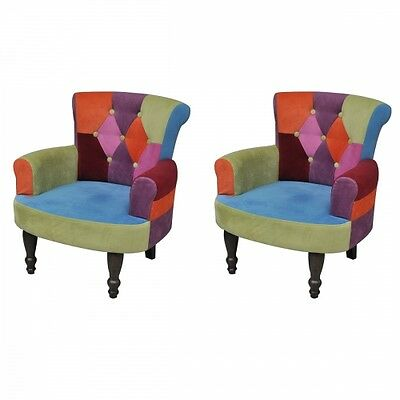 2xPatchwork Armchair Chairs Vintage Retro Couch Colorful Décor Office Home Seats