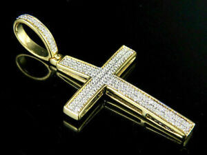 1-50Ct-Round-Cut-VVS1-D-Diamond-Cross-Shape-Charm-Pendant-14k-Yellow-Gold-Finish