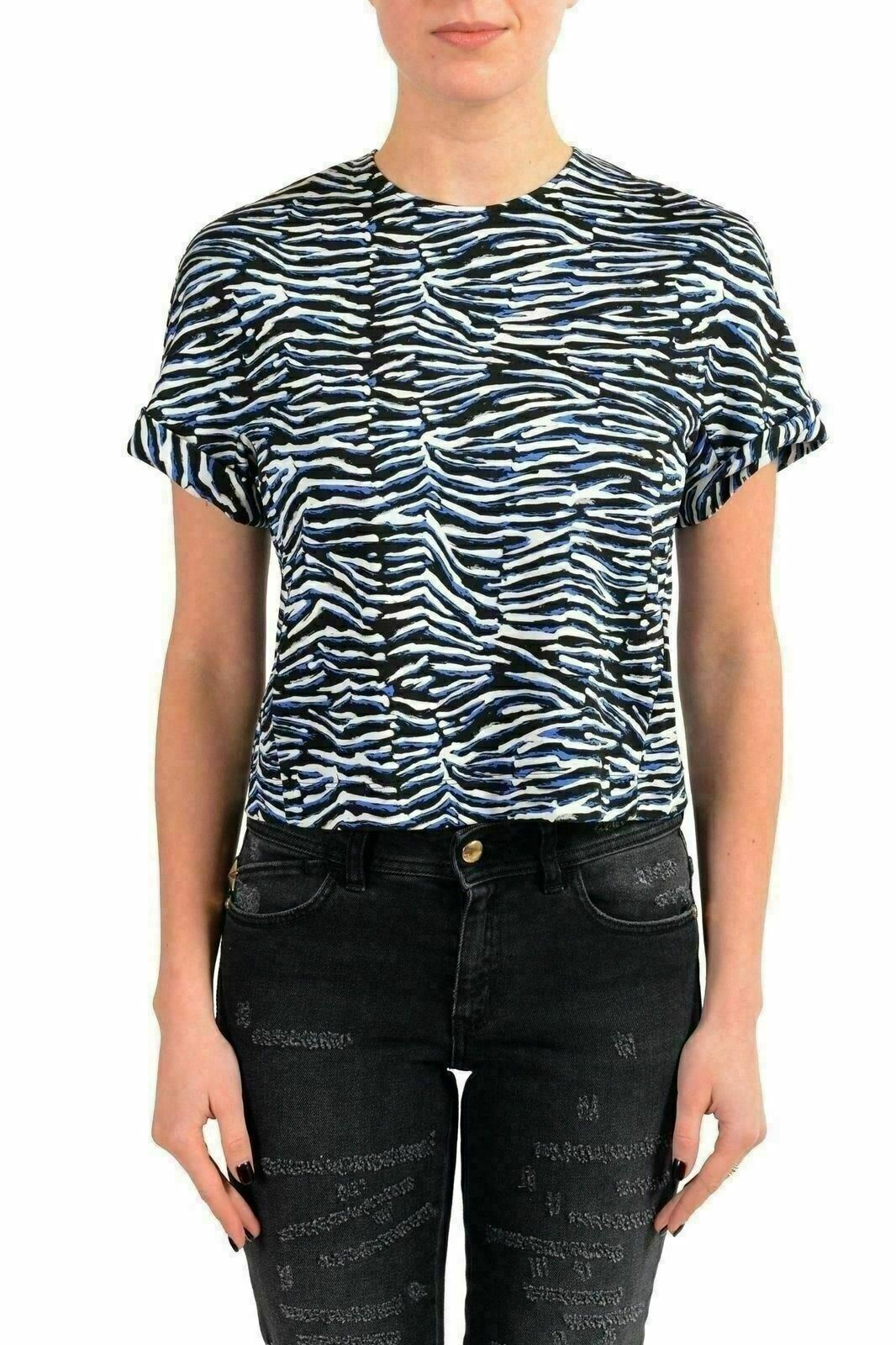 Just Cavalli Women's Multi-color Short Sleeve Cropped Top US S IT 40