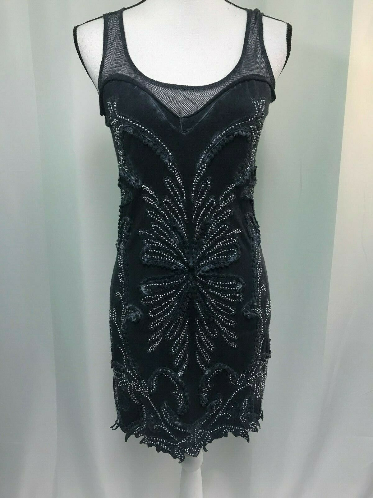 Free People Womens bluee Beaded Distressed Dress Size Extra Small